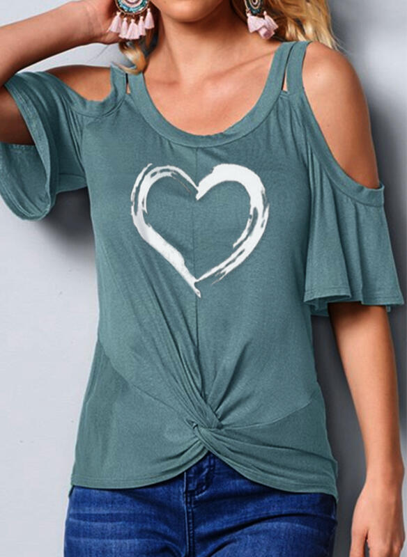 Print Heart Cold Shoulder Flare Sleeve 1/2 Sleeves Casual Blouses