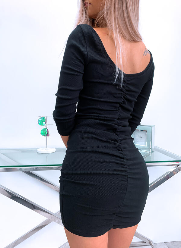 Solid/Backless Long Sleeves Bodycon Above Knee Little Black/Casual Dresses
