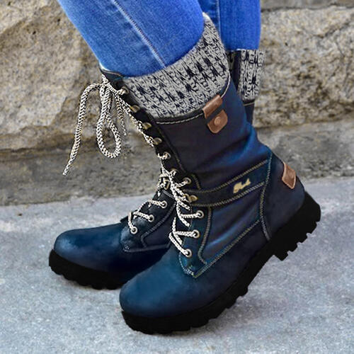 Women's PU Low Heel Martin Boots With Zipper Lace-up Splice Color shoes