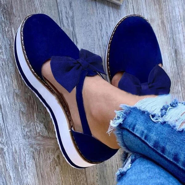 Women's Suede Flat Heel Flats With Bowknot shoes