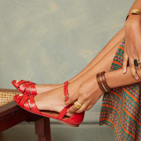 PU Flat Heel Sandals With Buckle shoes