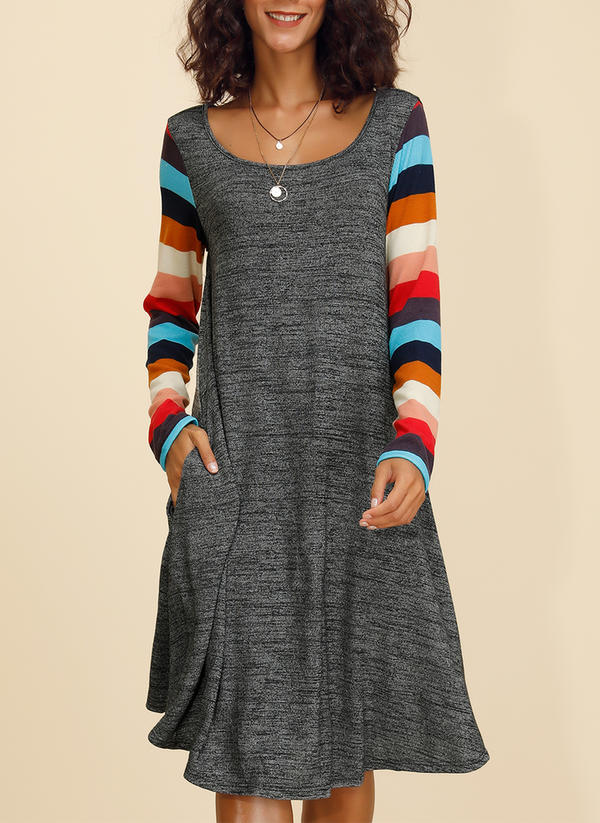 Striped Long Sleeves Shift Knee Length Casual Tunic Dresses
