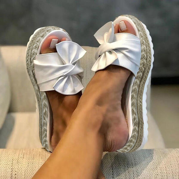 Women's Leatherette Wedge Heel Sandals Slippers With Bowknot shoes
