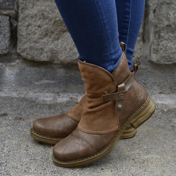 Women's PU Low Heel Boots Mid-Calf Boots Round Toe With Lace-up shoes