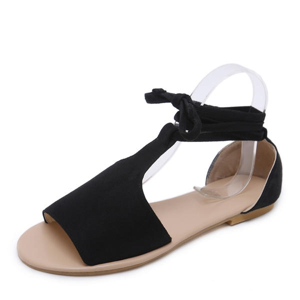 Women's Suede Flat Heel Sandals Flats Peep Toe With Lace-up shoes