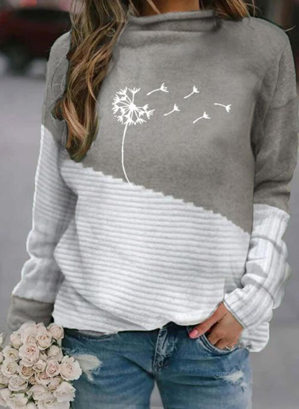 Print Color Block Stand Collar Casual Sweaters