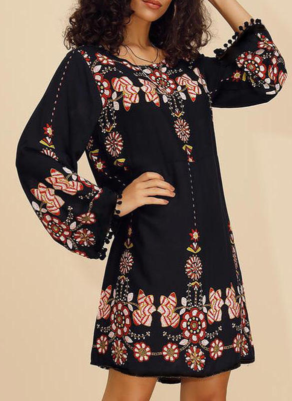 Print/Floral Long Sleeves Shift Knee Length Casual Dresses