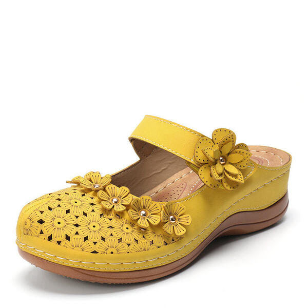Women's Leatherette PU Chunky Heel Sandals Slippers With Buckle Hollow-out Flower shoes
