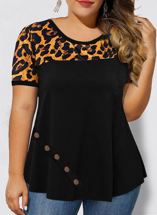 Leopard Round Neck Short Sleeves Button Up Casual Plus Size Blouses