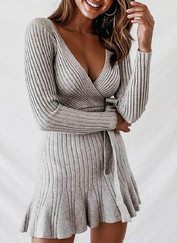 Solid Long Sleeves Sheath Above Knee Casual Sweater/Wrap Dresses