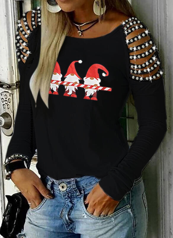 Print Sequins Round Neck Long Sleeves Casual Christmas Blouses