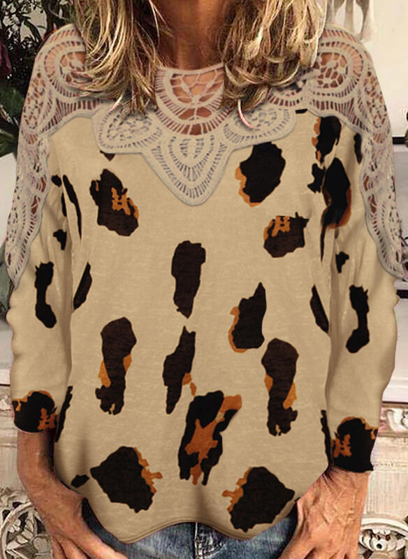 Lace Leopard Round Neck Long Sleeves Casual Blouses