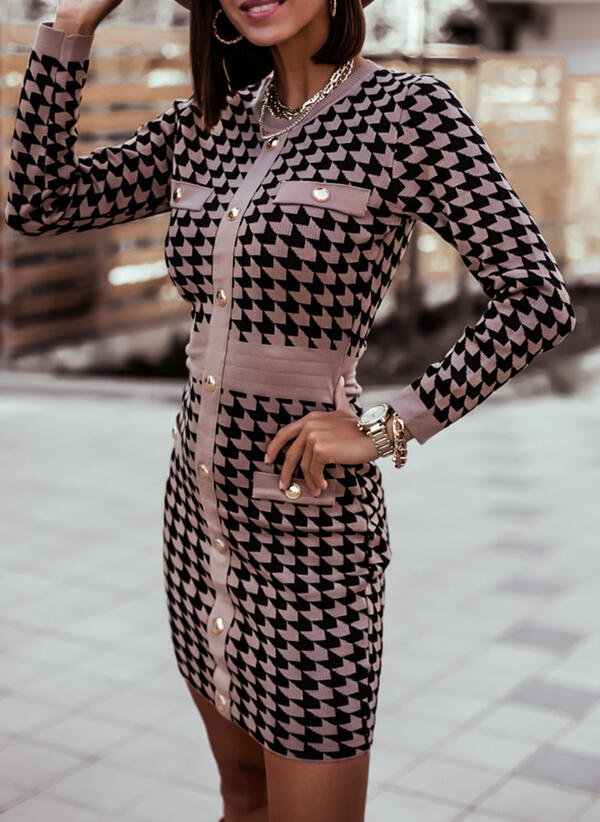 Print V-Neck Casual Long Tight Sweater Dress