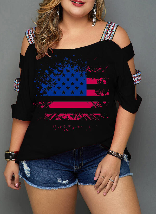 Print Cold Shoulder 1/2 Sleeves Casual Plus Size Blouses