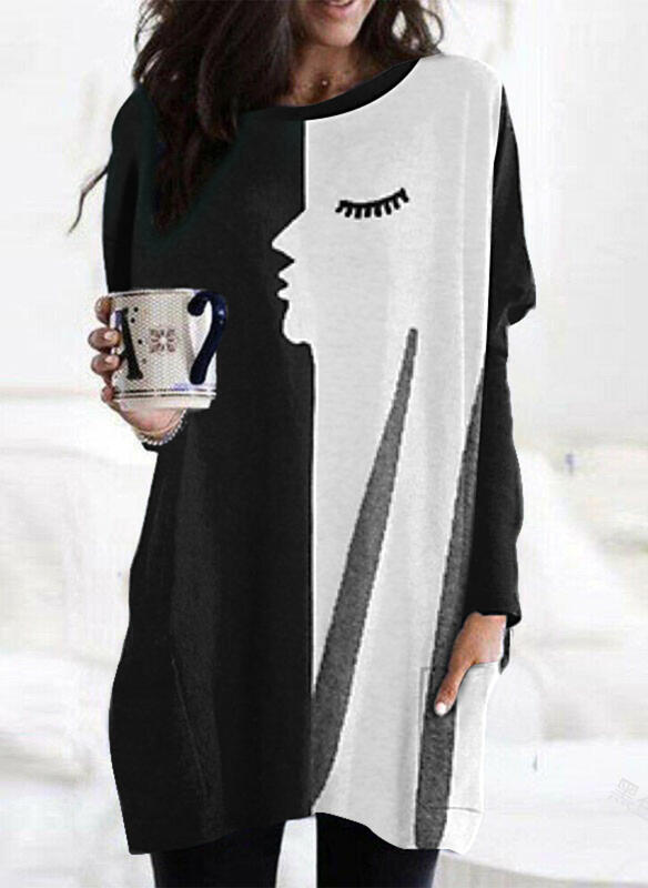 Print Color Block Round Neck Long Sleeves Casual Blouses