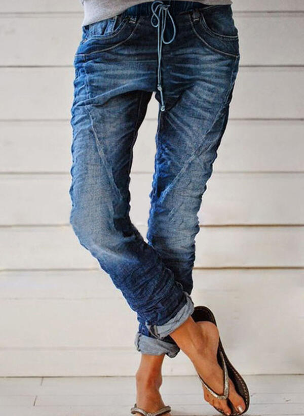 Patchwork Shirred Plus Size Long Casual Tribal Denim & Jeans