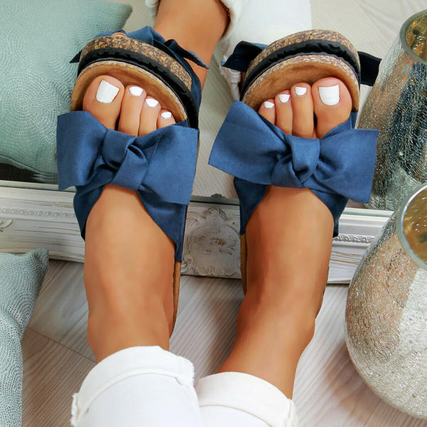 PVC Flat Heel Sandals With Bowknot shoes
