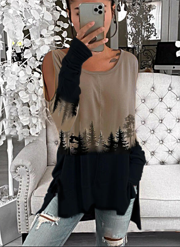 Print Forest Cold Shoulder Long Sleeves Casual Blouses