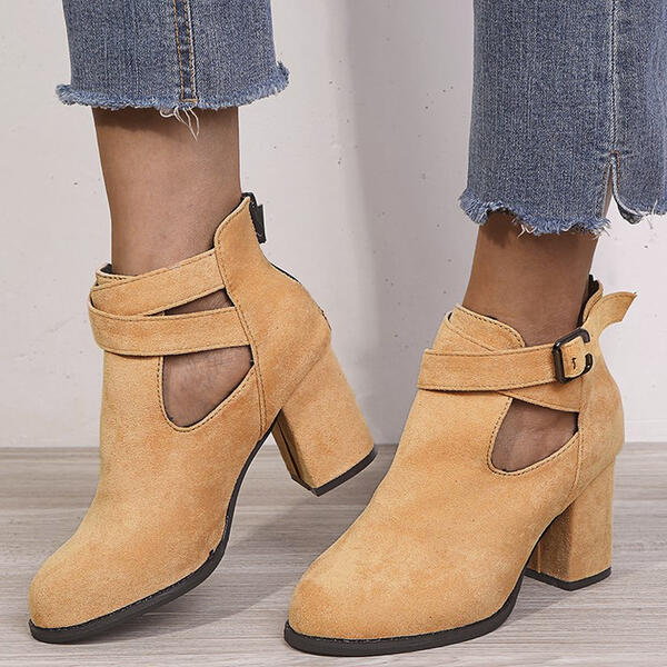 Women's Suede Chunky Heel Round Toe With Buckle Zipper Solid Color shoes