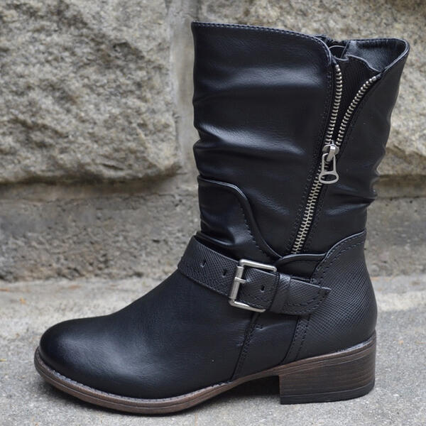 Women's PU Low Heel Mid-Calf Boots Round Toe With Zipper Others shoes