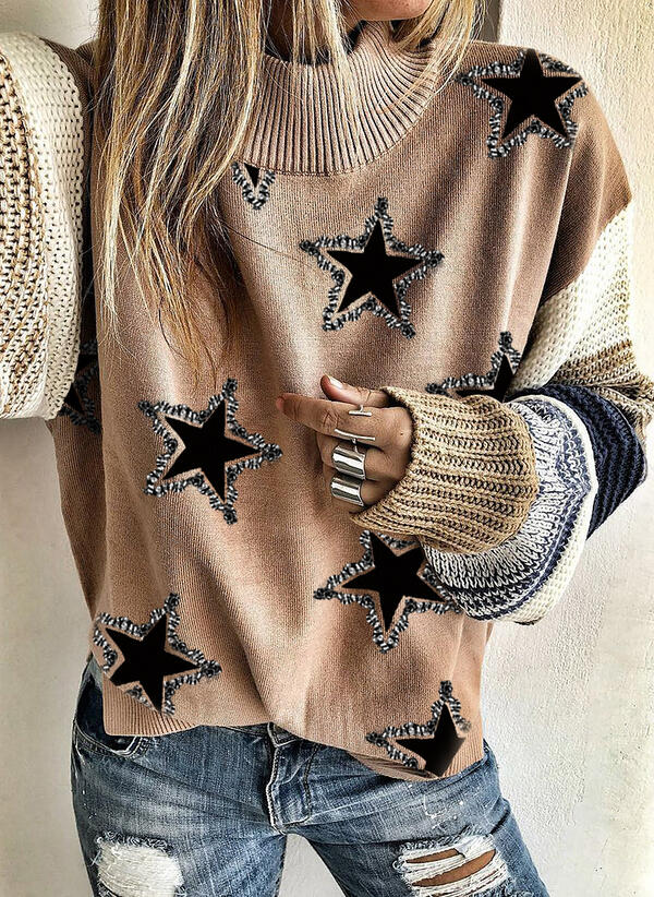 Print Color Block Sequins Round Neck Casual Sweaters