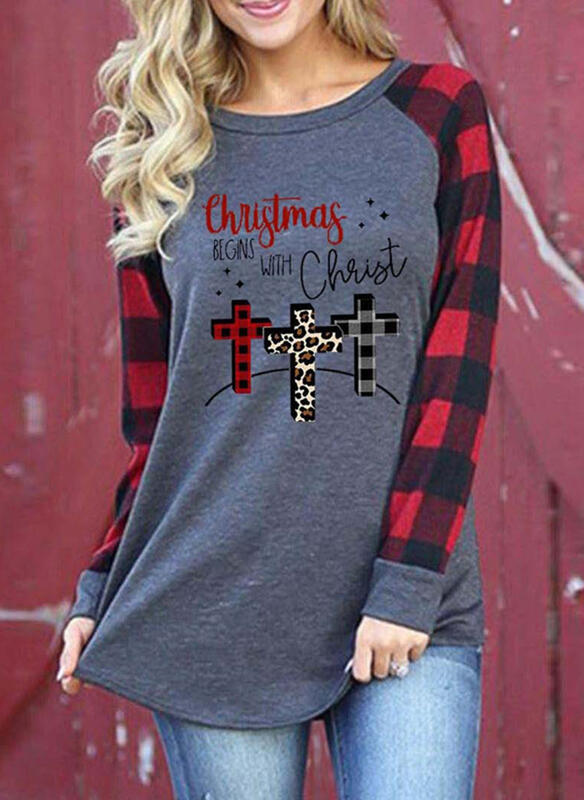 Print Leopard Figure Plaid Round Neck Long Sleeves Casual Christmas T-shirts