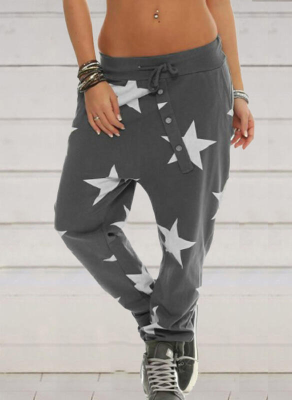 Print Shirred Drawstring Cropped Casual Sporty Pants