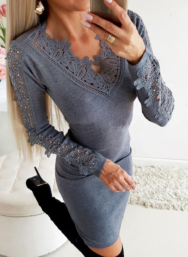Lace/Solid/Beaded Long Sleeves Bodycon Above Knee Elegant Dresses