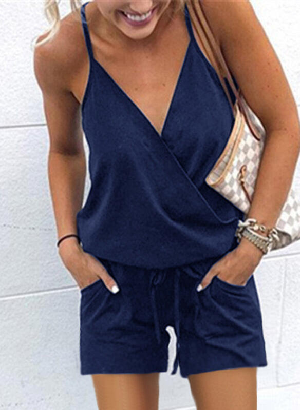 Solid Casual Vacation Rompers