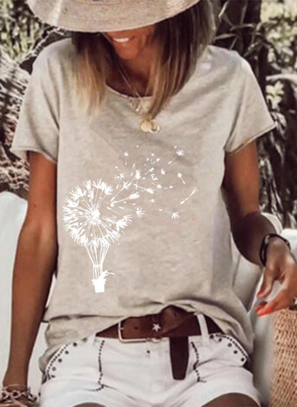 Print Dandelion Round Neck Short Sleeves Casual T-shirts