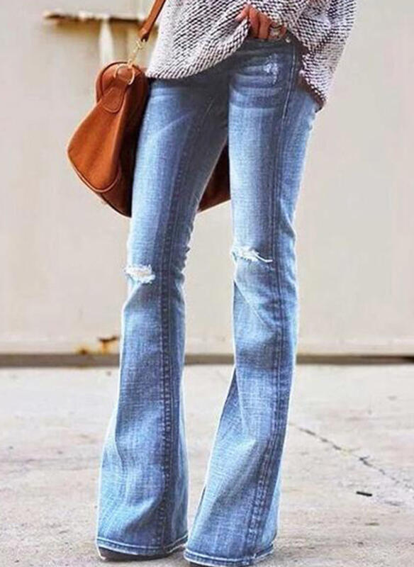 Plus Size Ripped Long Sexy Solid Denim & Jeans