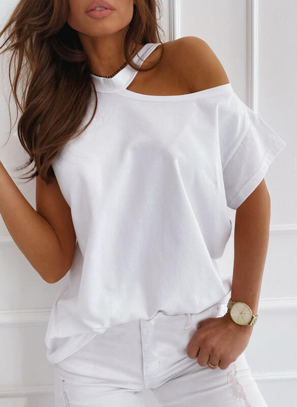 Solid One-Shoulder Short Sleeves Casual Blouses