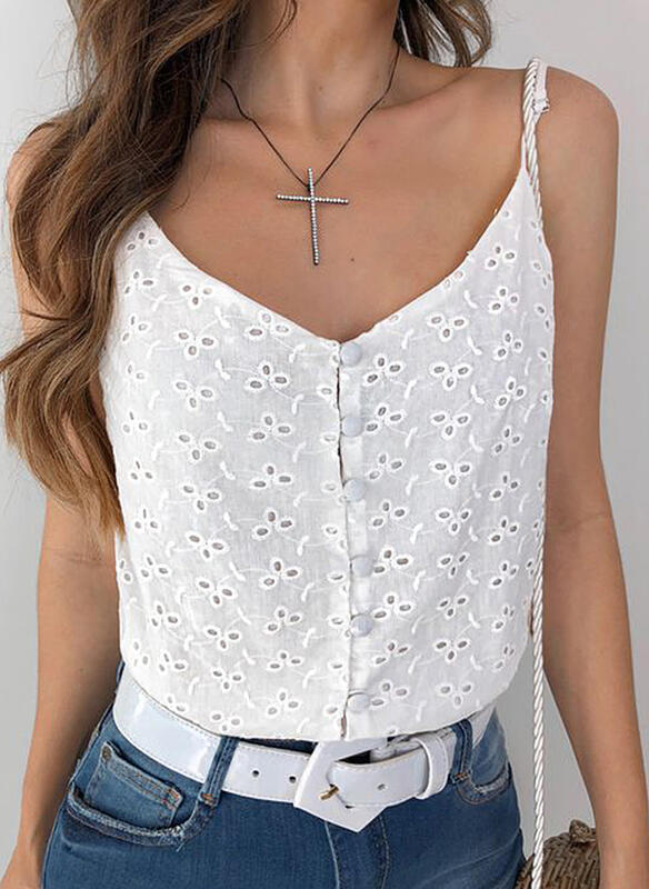Solid Hollow-out Spaghetti Strap Sleeveless Button Up Casual Sexy Tank Tops