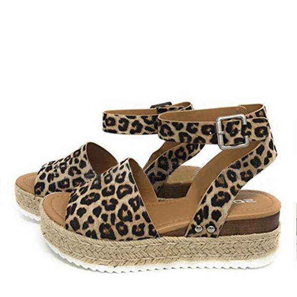 Women's PU Wedge Heel Sandals With Animal Print shoes