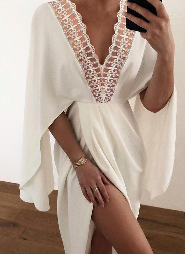 Lace/Solid 3/4 Sleeves A-line Skater Casual Midi Dresses