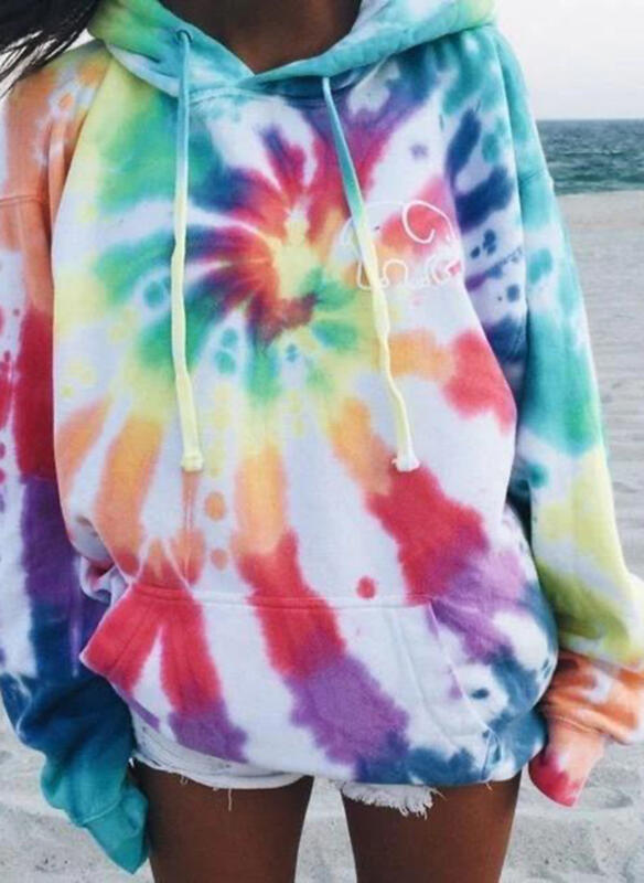 Tie Dye Round Neck Long Sleeves Casual Blouses
