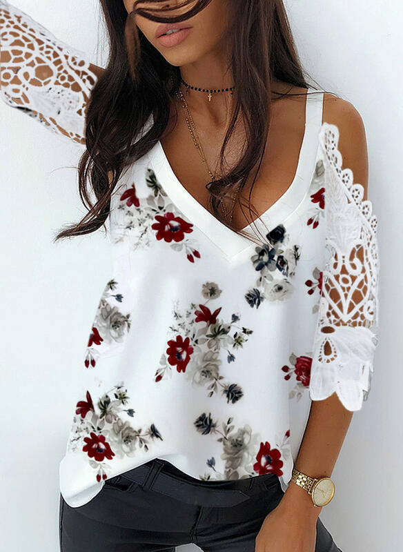 Print Floral Lace Cold Shoulder 3/4 Sleeves Casual Blouses