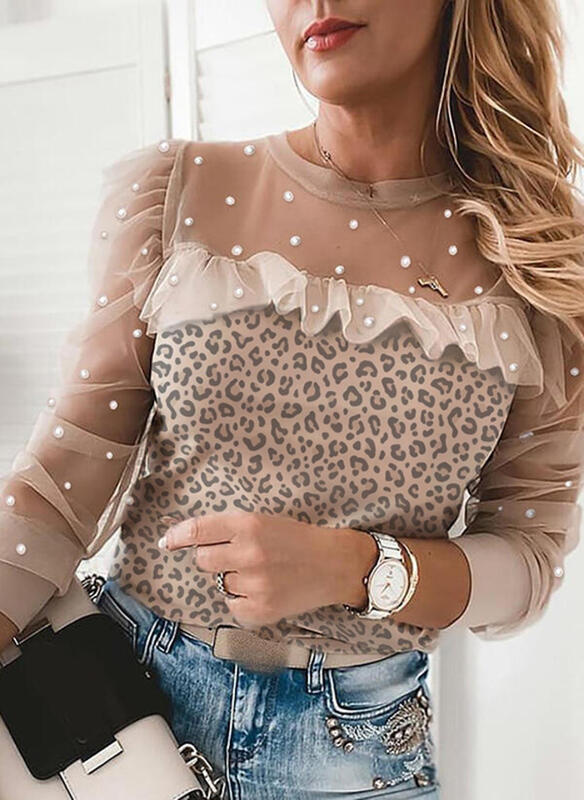 Leopard Beaded Round Neck Long Sleeves Elegant Blouses