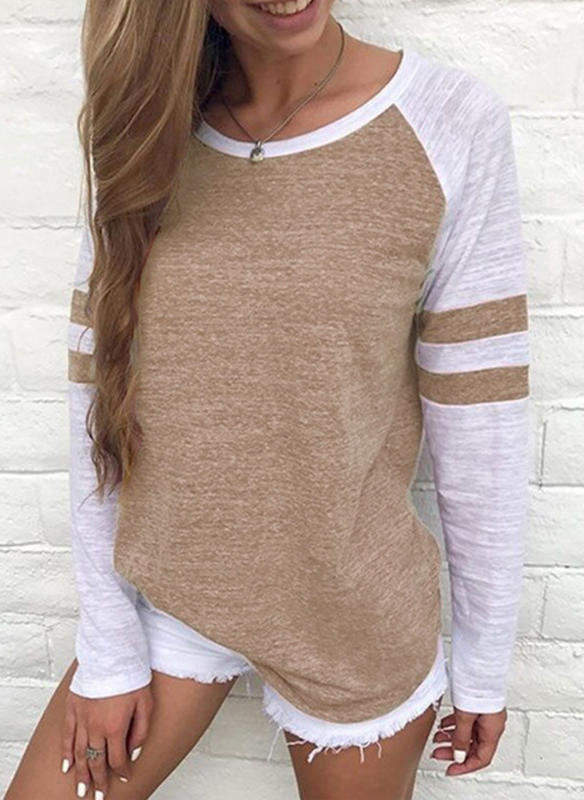 Color Block Round Neck Long Sleeves Casual Knit T-shirts