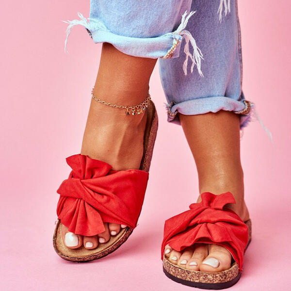 Women's Suede Flat Heel Sandals Slippers With Bowknot shoes