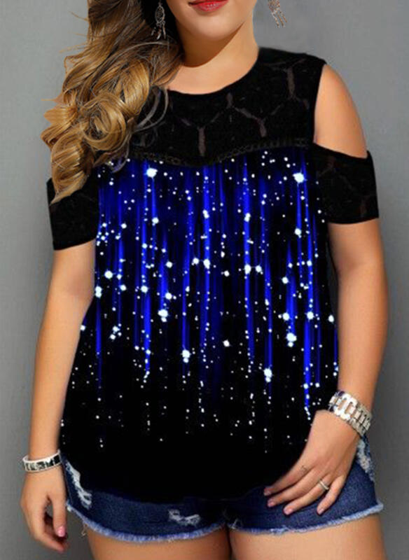 Print Cold Shoulder Short Sleeves Casual Plus Size Blouses