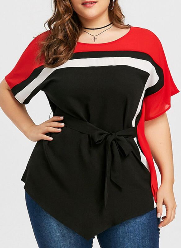 Color Block Round Neck 1/2 Sleeves Casual Elegant Plus Size Blouses