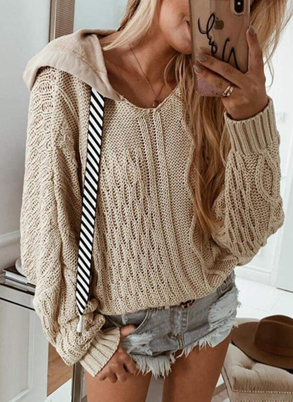 Solid Cable-knit Hooded Casual Sweaters