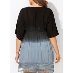 Plus Size Lace Gradient 1/2 Sleeves A-line Above Knee Casual Vacation Dress