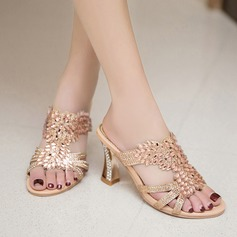 Women's Leatherette Chunky Heel Sandals With Crystal Hollow-out shoes