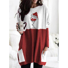Color Block Sequins Pockets Round Neck Long Sleeves Christmas Sweatshirt