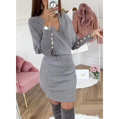 Solid/Beaded Long Sleeves Bodycon Above Knee Little Black/Casual Sweater Dresses