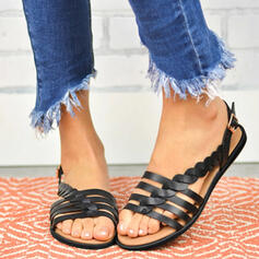 PU Flat Heel Sandals Slippers With Buckle shoes