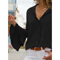 Solid Lapel Flare Sleeve Long Sleeves Button Up Elegant Shirt Blouses