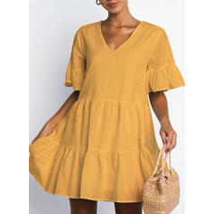 Solid Short Sleeves/Flare Sleeves Shift Above Knee Little Black/Casual Tunic Dresses